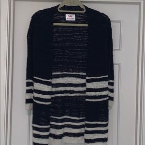 Justice Navy and cream shimmer cardigan Sz 8